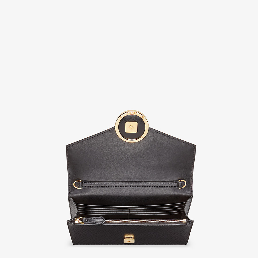 FENDI WALLET ON CHAIN - Black leather mini bag - view 4 detail