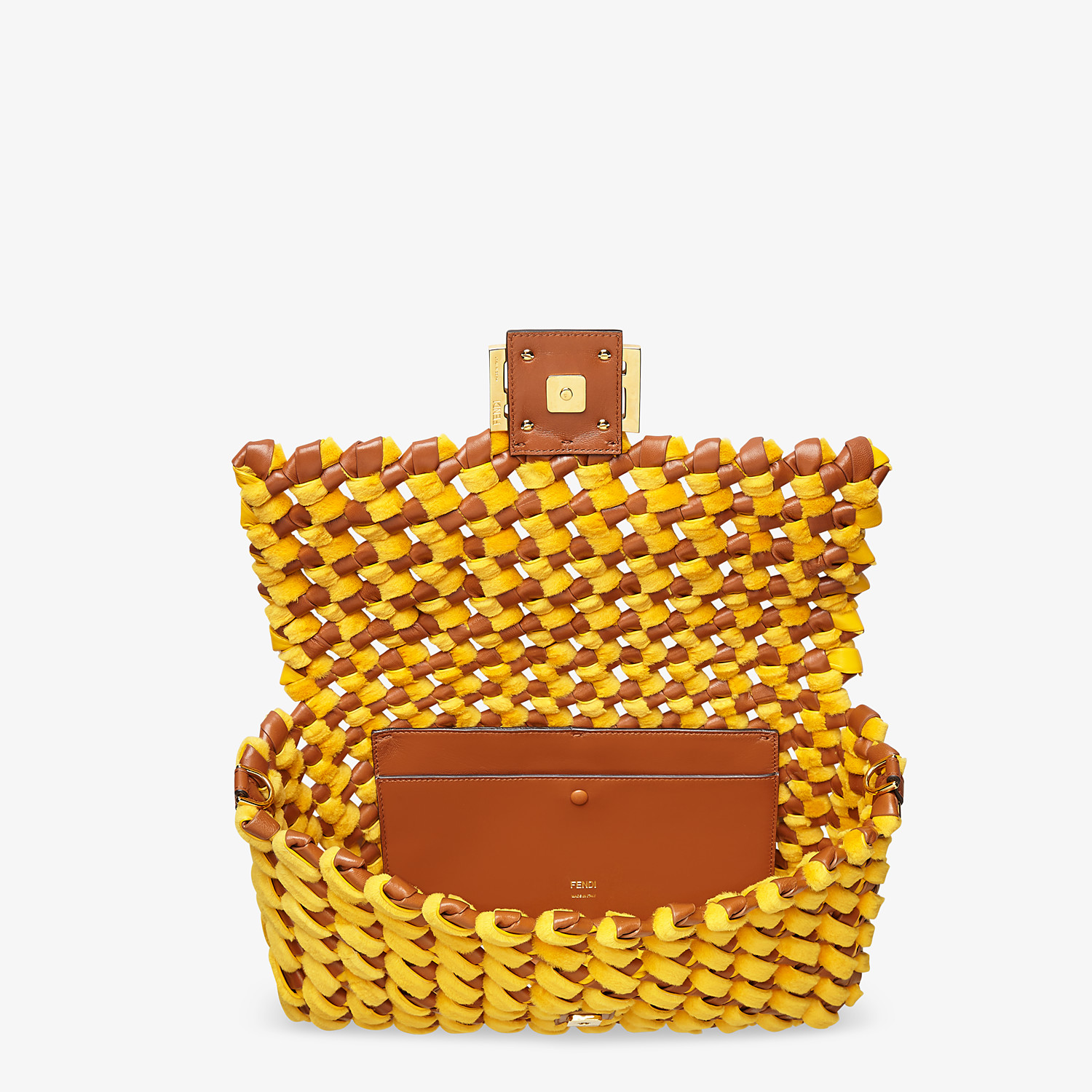FENDI BAGUETTE LARGE - Yellow mink and nappa leather bag - view 5 detail