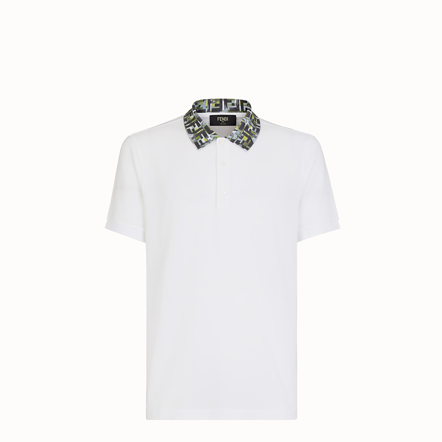 FENDI T-SHIRT - White cotton polo shirt - view 1 detail