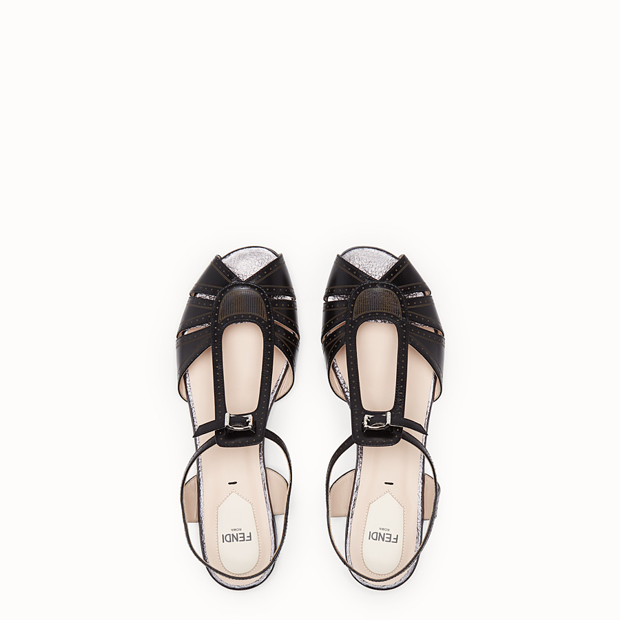 FENDI SANDALS - Black leather flats - view 4 detail