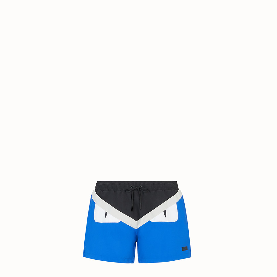 FENDI SWIM SHORTS - Blue nylon shorts - view 1 detail