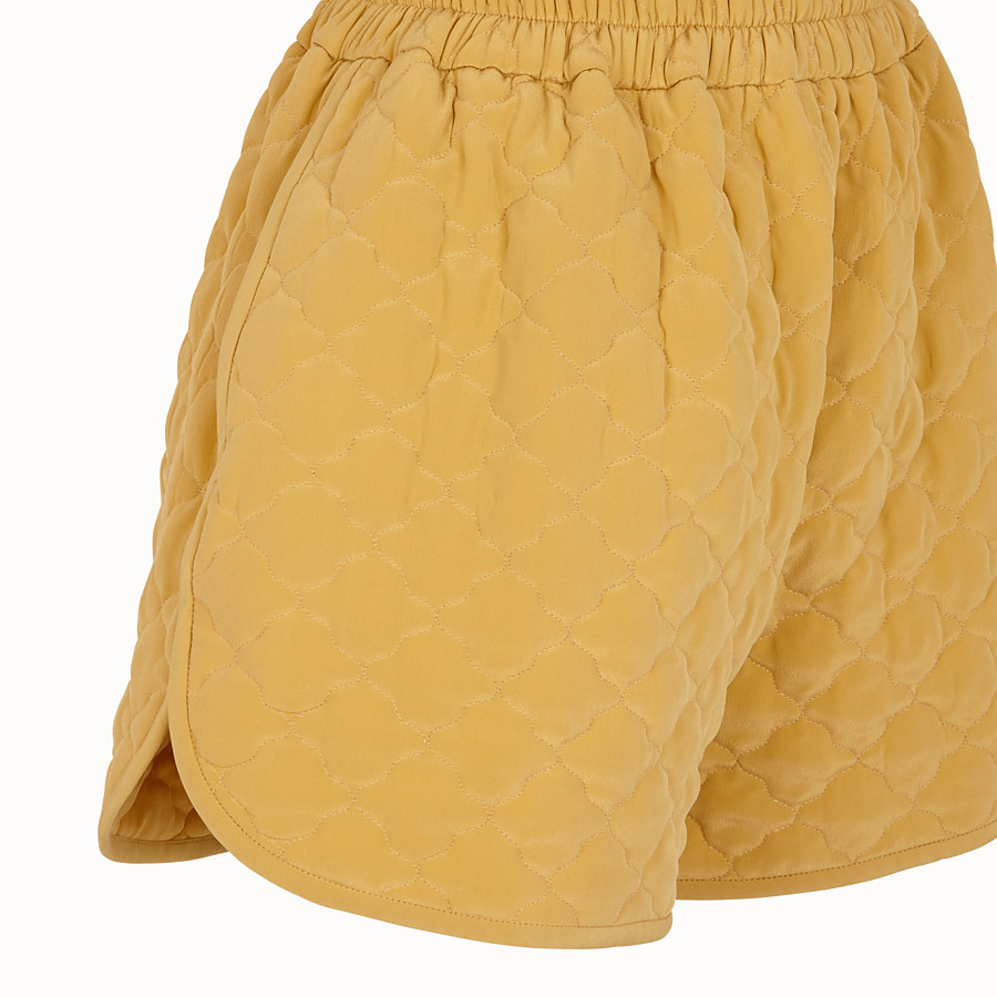FENDI SHORTS - Yellow quilted crêpe de Chine shorts - view 3 detail