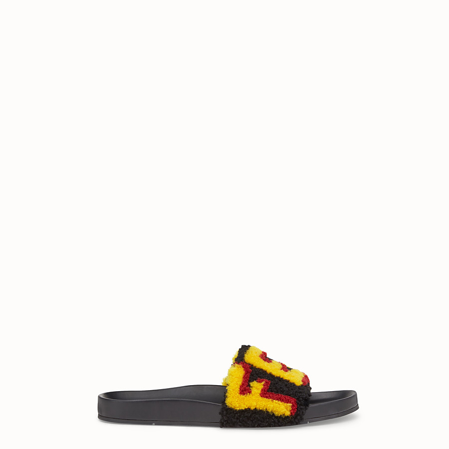 FENDI FLAT SANDALS - Slides in leather and yellow sheepskin - view 1 detail