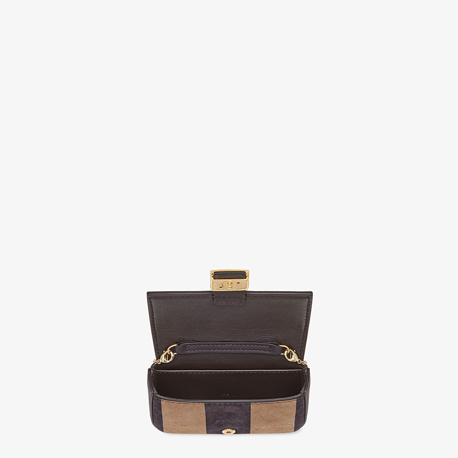 FENDI NANO BAGUETTE - Charm in brown nubuck leather - view 5 detail