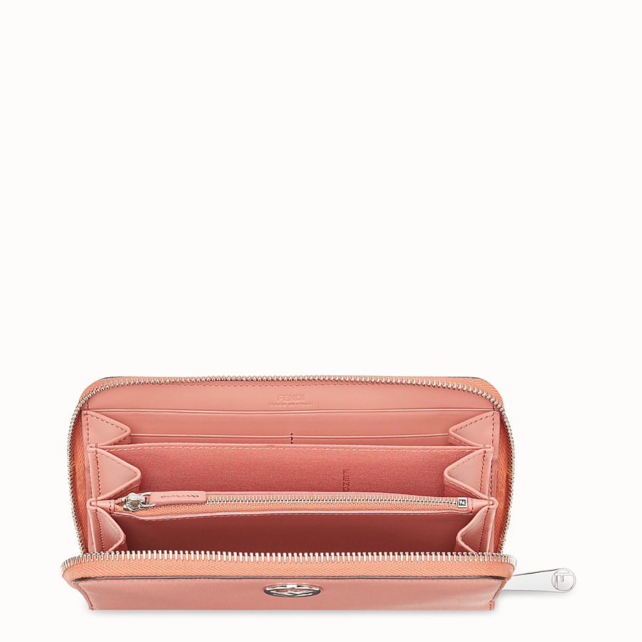 FENDI ZIP-AROUND - Pink leather wallet - view 4 detail