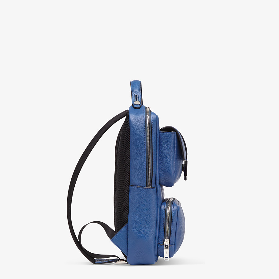 FENDI BACKPACK - Blue leather backpack - view 2 detail