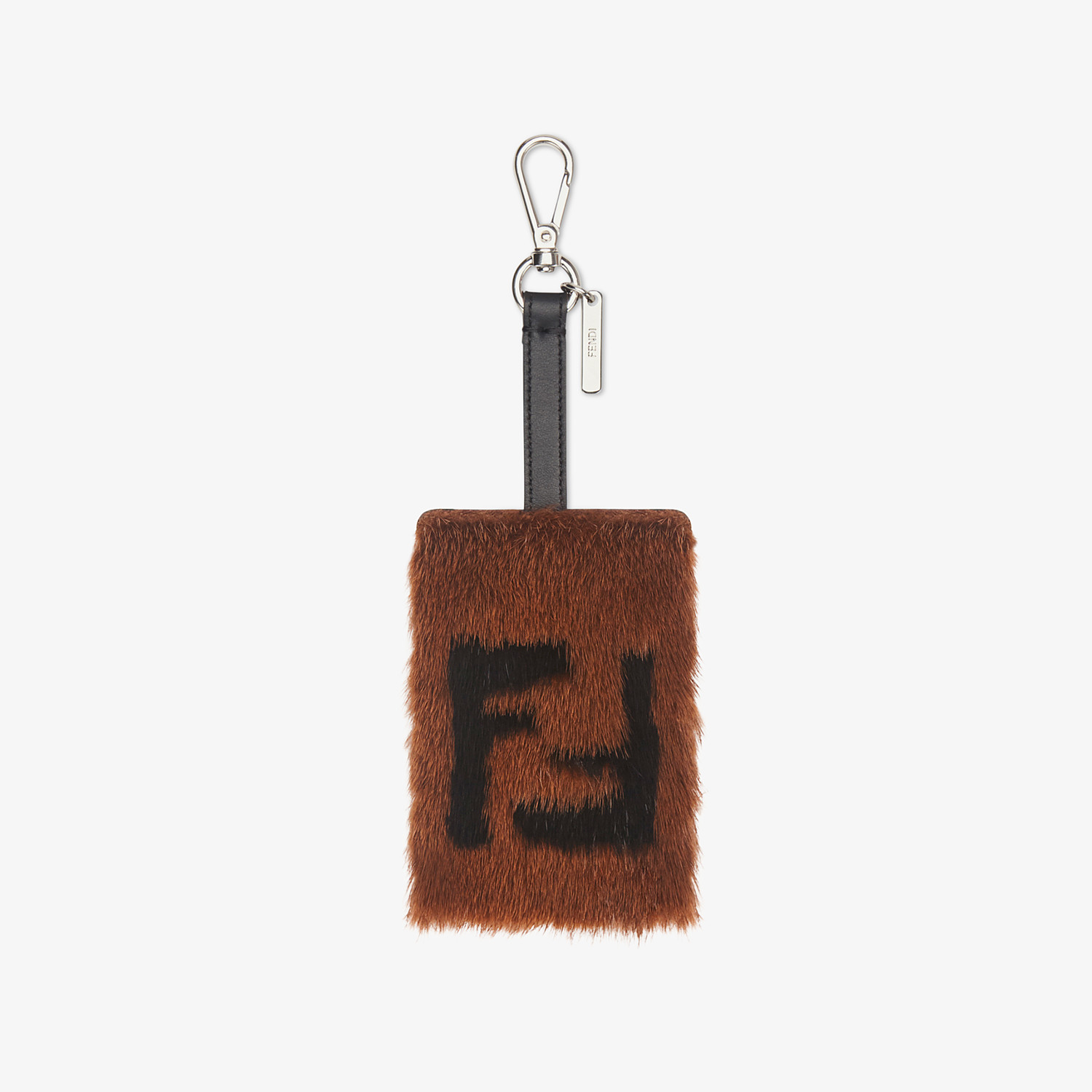 FENDI ADDRESS CARD TAG - Brown leather and mink card holder - view 1 detail