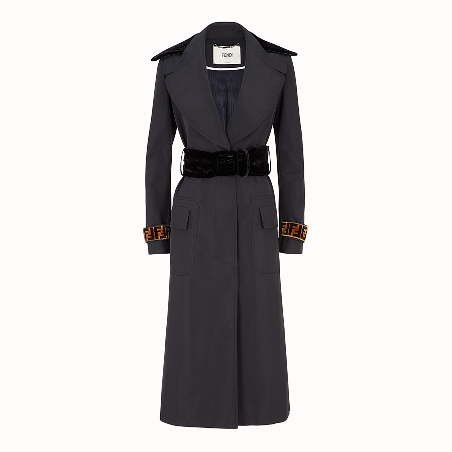 FENDI COAT - Black fabric trench coat - view 1 detail