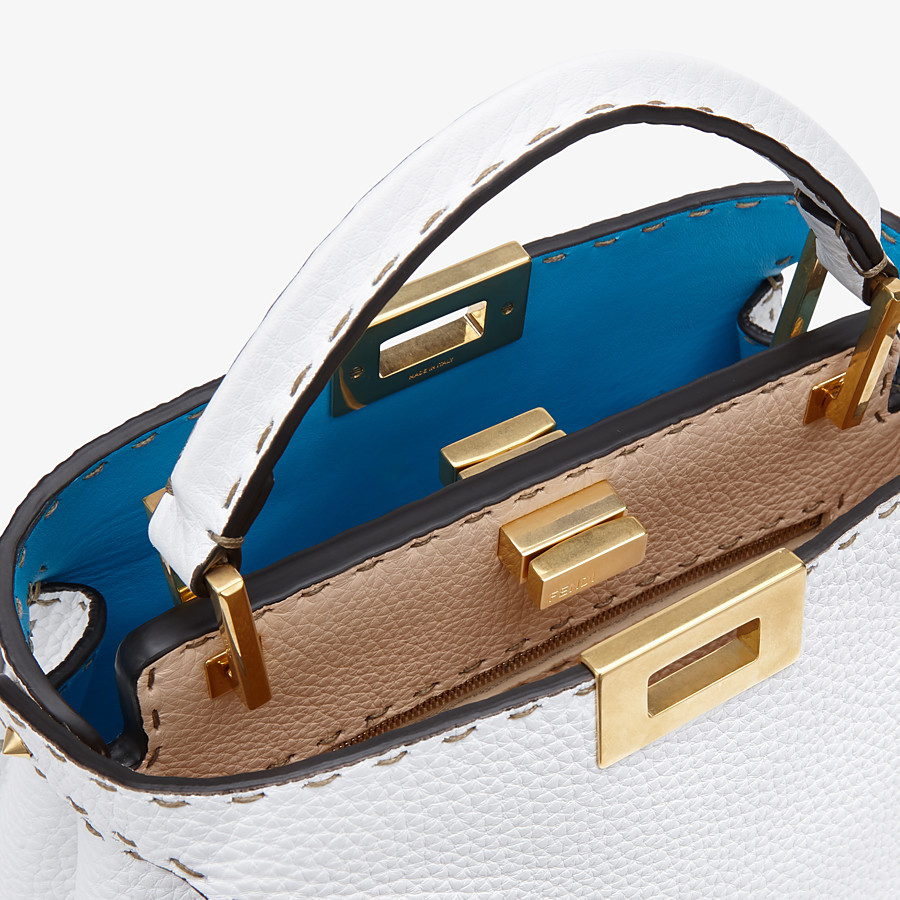 FENDI PEEKABOO ICONIC ESSENTIALLY - White Cuoio Romano leather bag - view 6 detail
