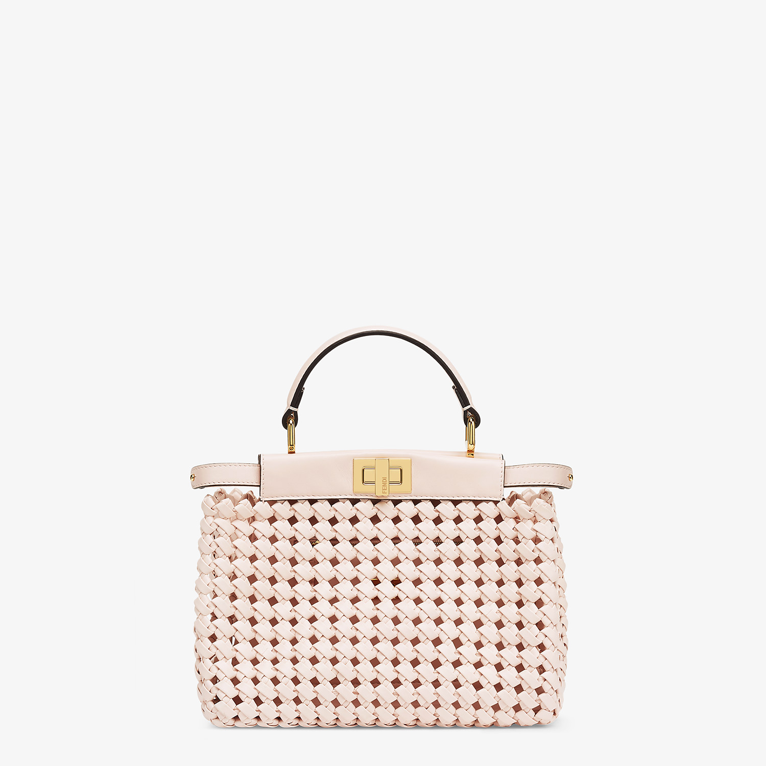 FENDI PEEKABOO ICONIC MINI - Tasche aus Interlace Leder in Rosa - view 1 detail