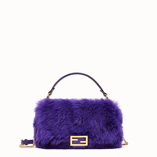 FENDI BAGUETTE - Purple sheepskin bag - view 1 small thumbnail