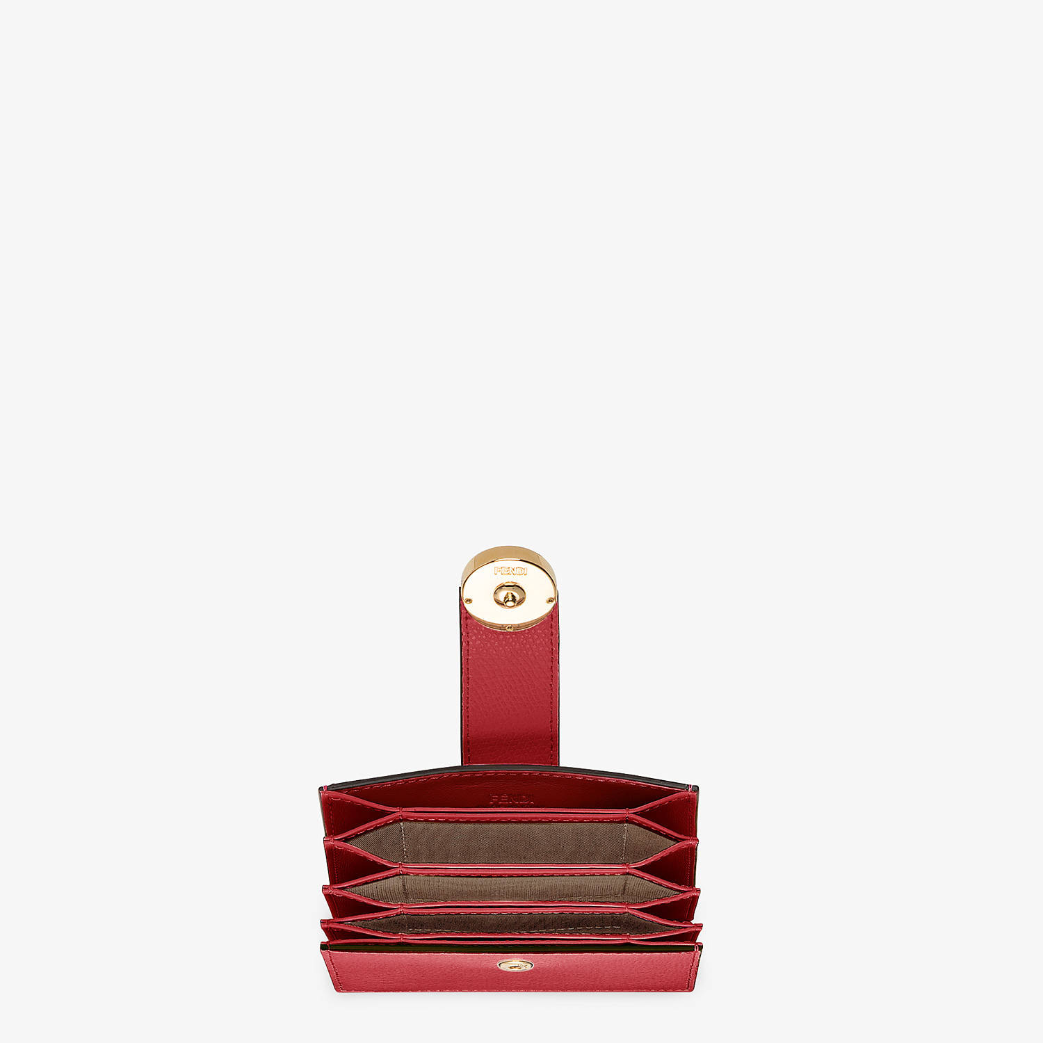 FENDI CARD HOLDER - Red leather gusseted card holder - view 4 detail