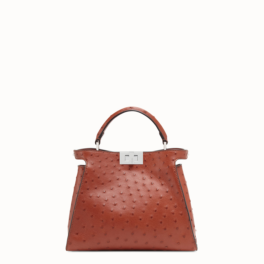 FENDI PEEKABOO ICONIC ESSENTIALLY - Red ostrich bag - view 1 detail