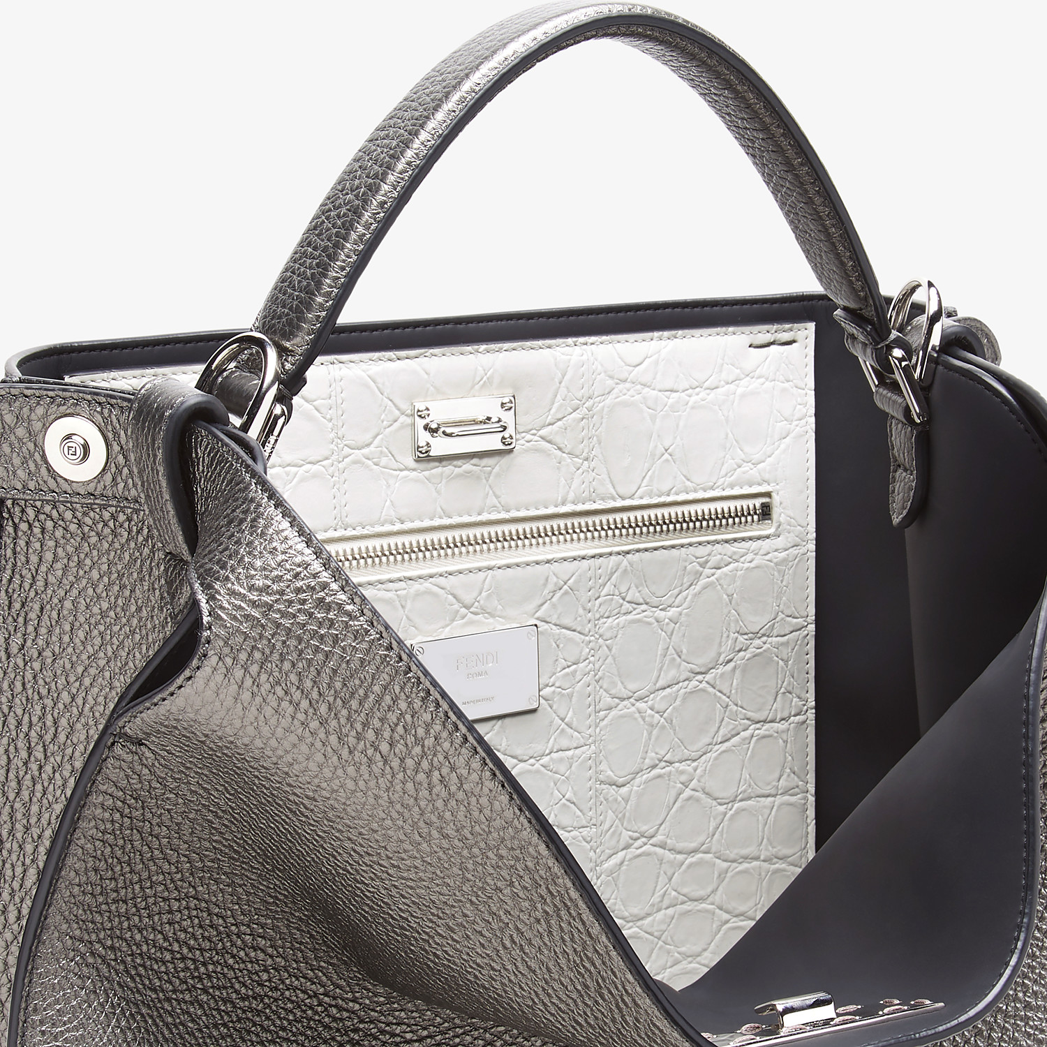 FENDI PEEKABOO X-LITE FIT - Gray leather bag - view 6 detail