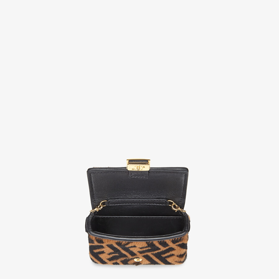 FENDI NANO BAGUETTE CHARM - Brown sheepskin charm - view 4 detail