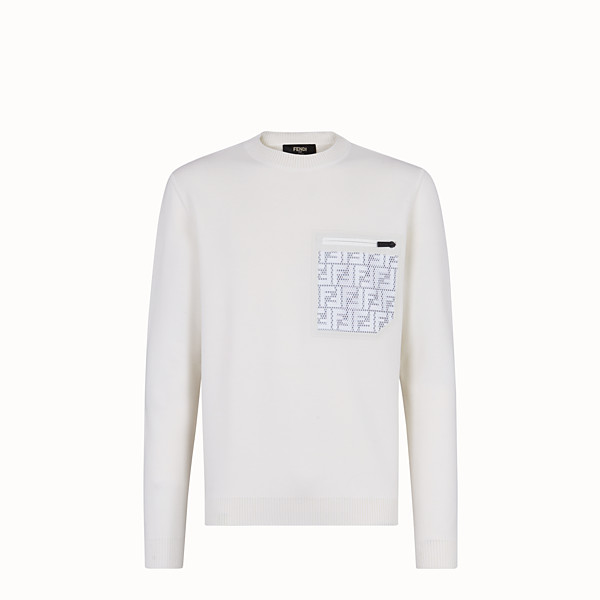 FENDI PULLOVER - White wool jumper - view 1 small thumbnail