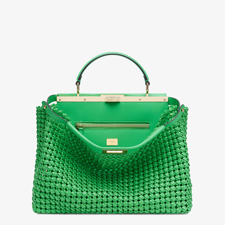 FENDI PEEKABOO ICONIC LARGE - Green leather interlace bag - view 1 detail