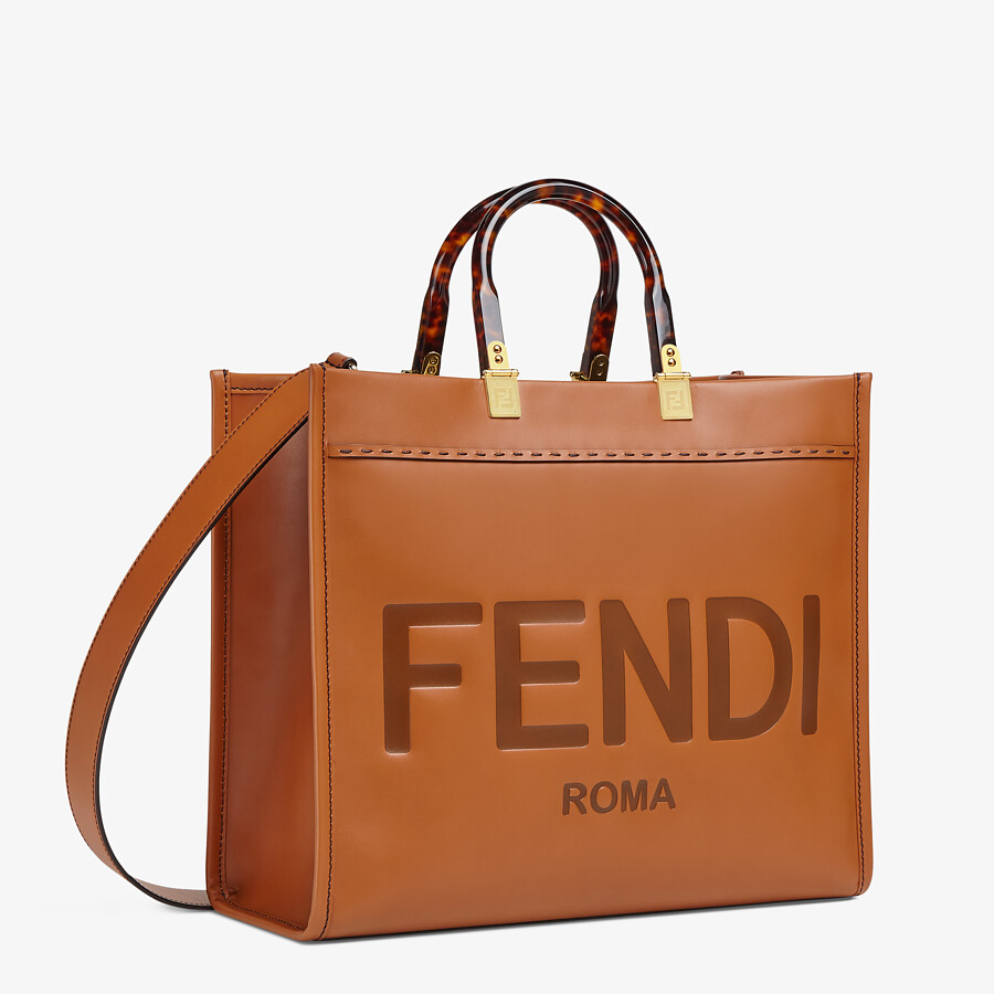 FENDI FENDI SUNSHINE MEDIUM - Brown leather shopper - view 3 detail