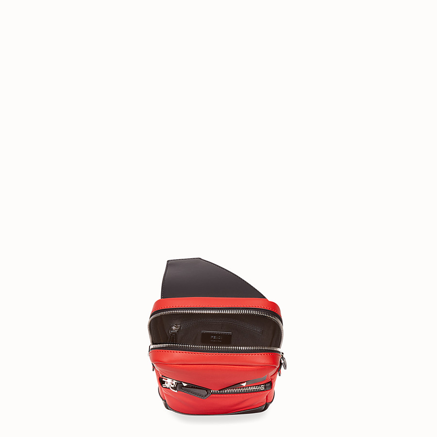 FENDI BELT BAG - Red fabric and leather one-shoulder backpack - view 4 detail