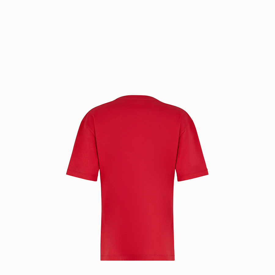 FENDI T-SHIRT - Red cotton T-shirt - view 2 detail