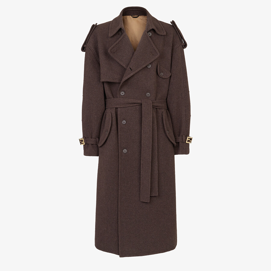 FENDI TRENCH COAT - Brown cashmere trench coat - view 1 detail