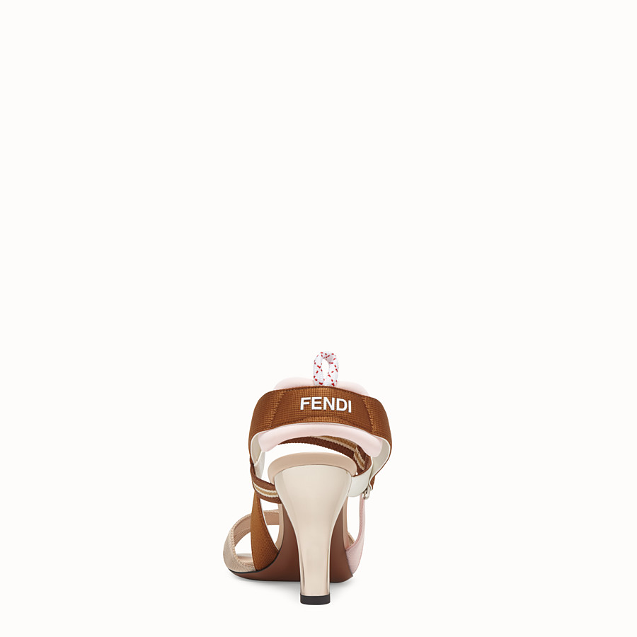 FENDI SANDALS - Beige tech fabric sandals - view 3 detail