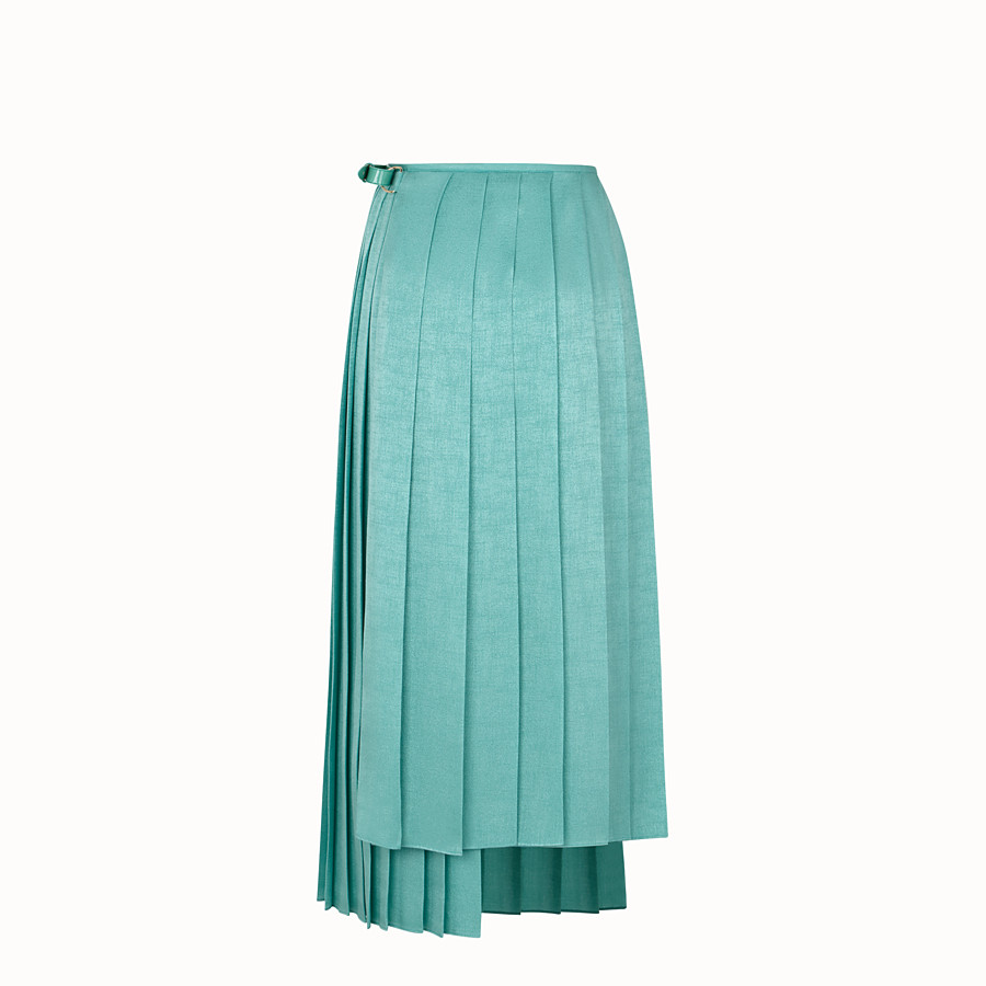 FENDI SKIRT - Aqua green silk skirt - view 2 detail