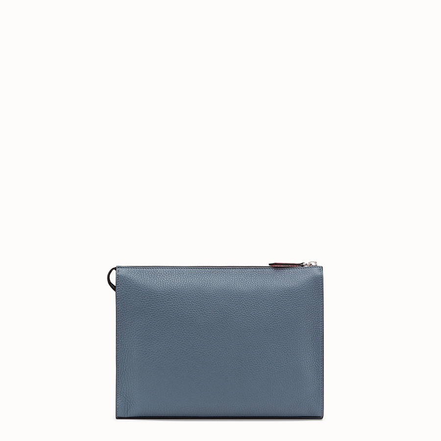 FENDI CLUTCH - Grey Romano leather pochette - view 3 detail