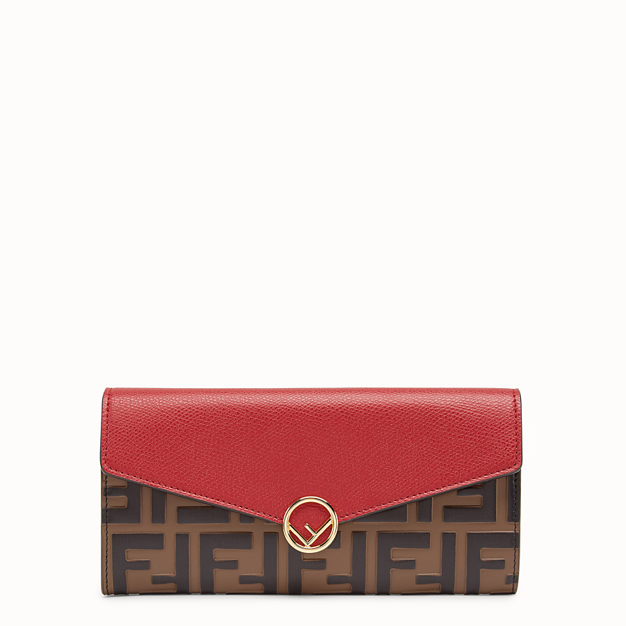 FENDI CONTINENTAL - Red leather wallet - view 1 detail