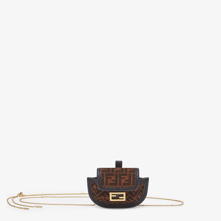 FENDI PICO BAGUETTE CHARM - Brown leather charm - view 1 detail