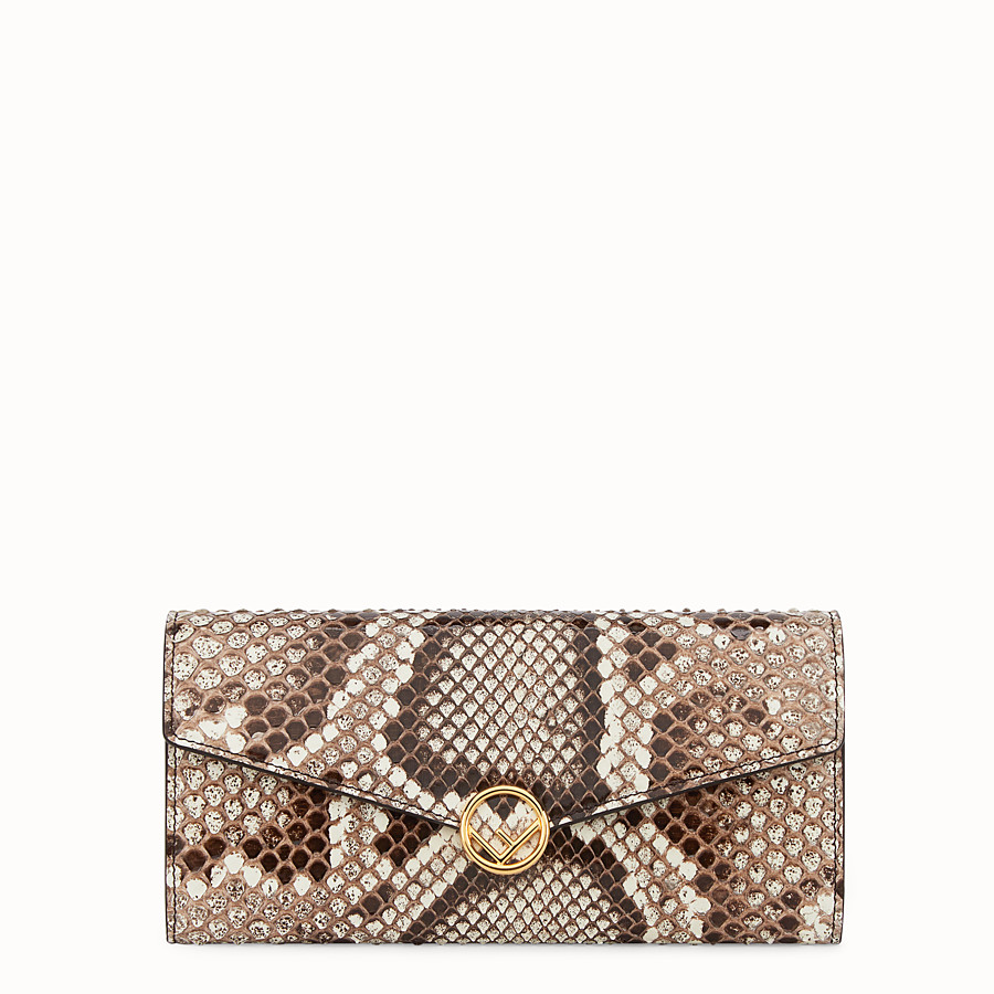 FENDI CONTINENTAL WITH CHAIN - Multicolour leather wallet with exotic details - view 1 detail