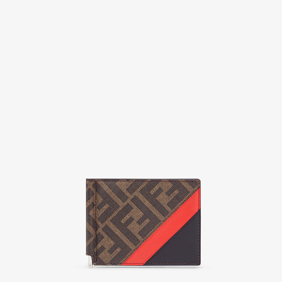 FENDI CARD HOLDER - Brown fabric money clip - view 1 detail