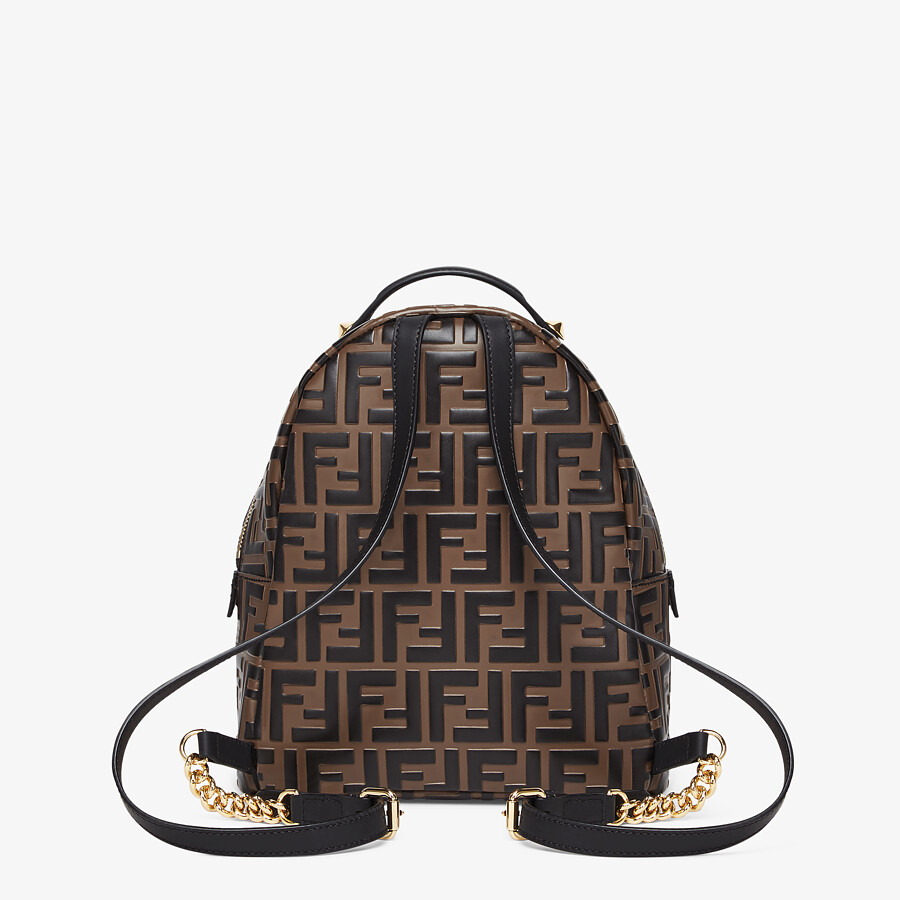 FENDI MINI BACKPACK - Brown leather FF backpack - view 3 detail