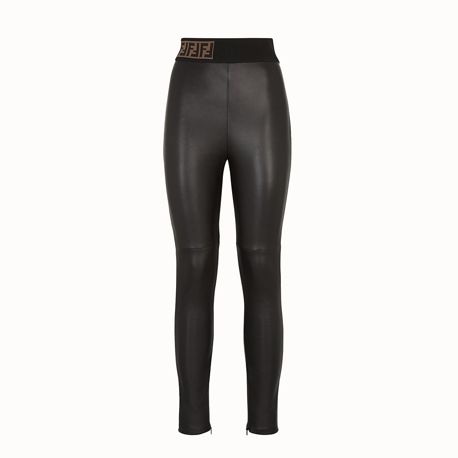 FENDI TROUSERS - Black leather trousers - view 1 detail