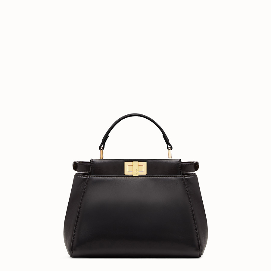 FENDI PEEKABOO ICONIC MINI - Black nappa handbag - view 4 detail