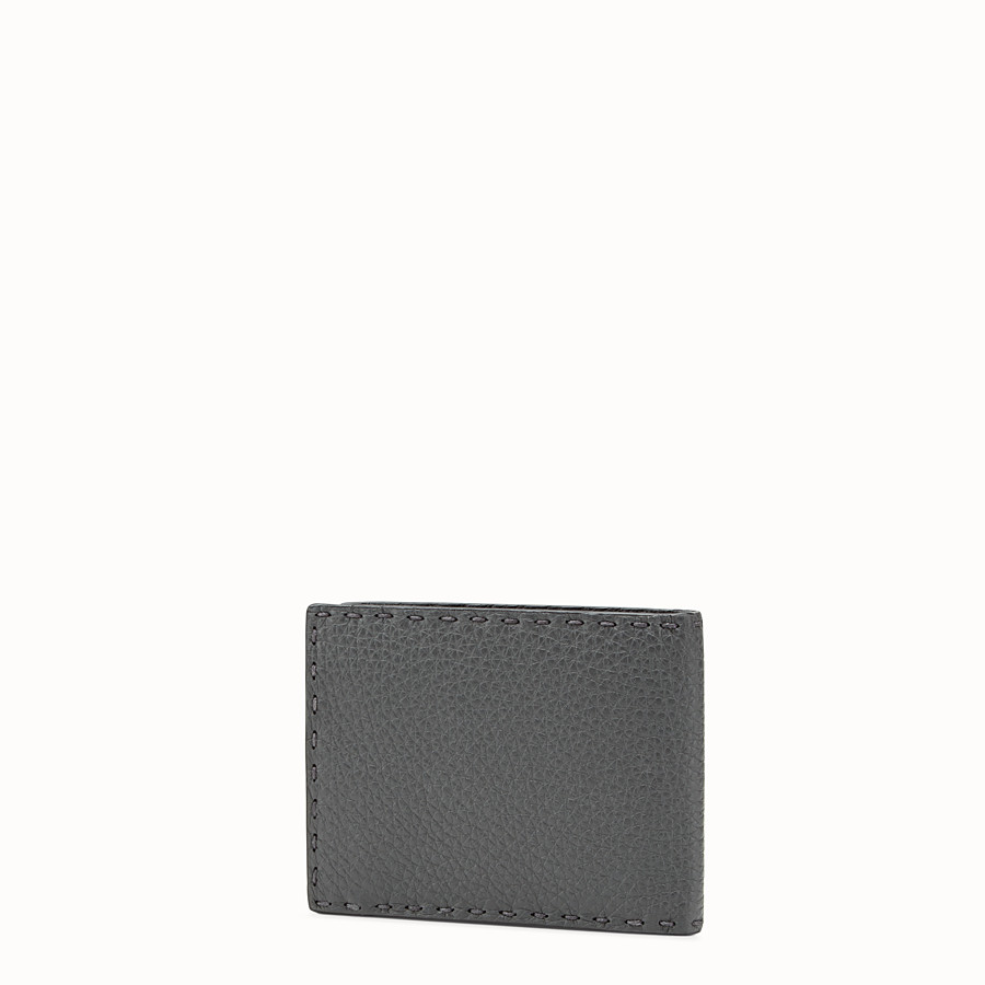 FENDI WALLET - Light grey leather bi-fold Selleria wallet - view 2 detail