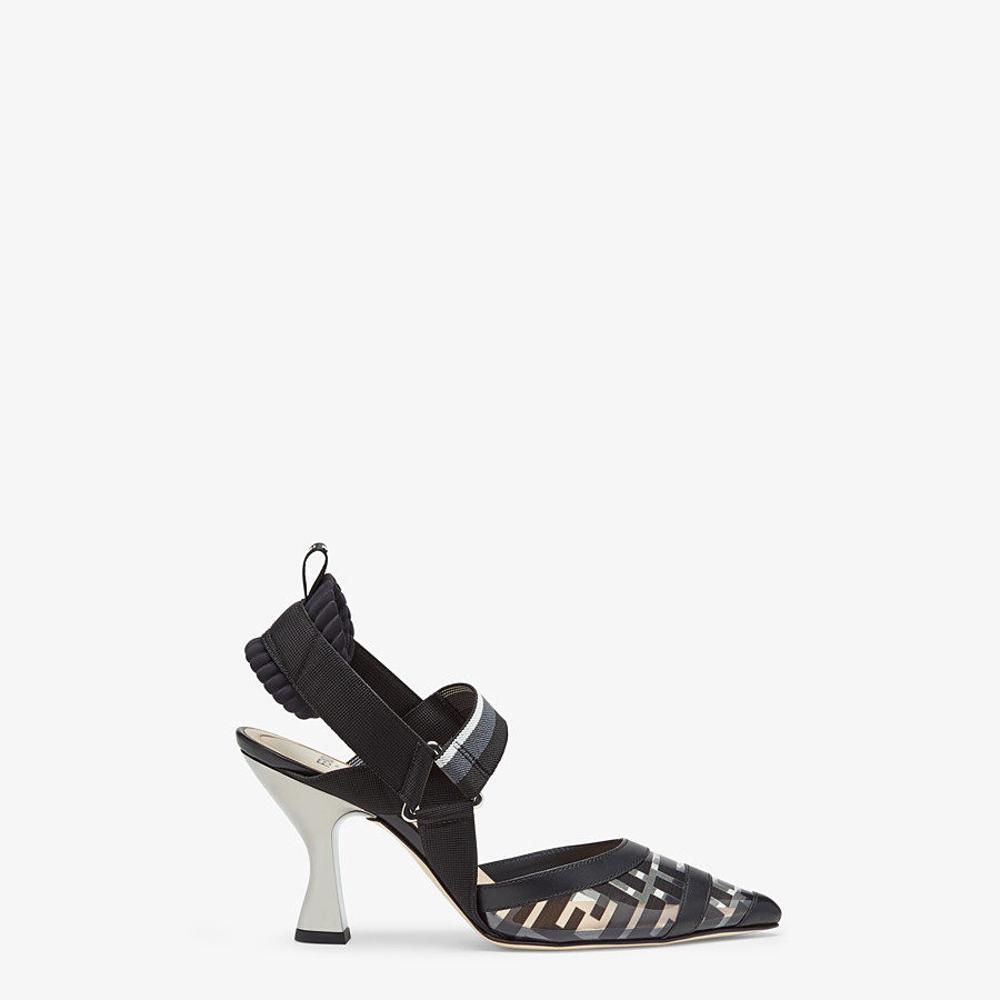 FENDI SLINGBACKS - Colibrì in PU and black leather - view 1 detail