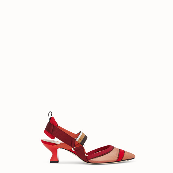 FENDI SLINGBACKS - Colibrì in red mesh - view 1 small thumbnail
