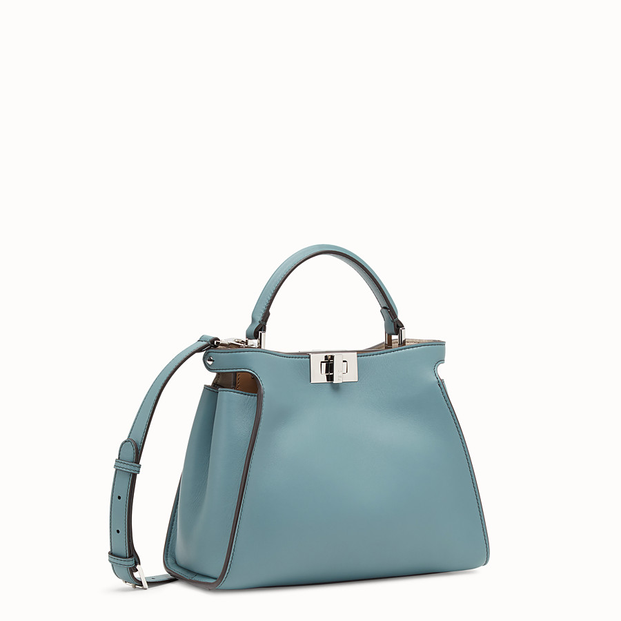 FENDI PEEKABOO ICONIC ESSENTIALLY - Tasche aus Leder in Hellblau - view 3 detail