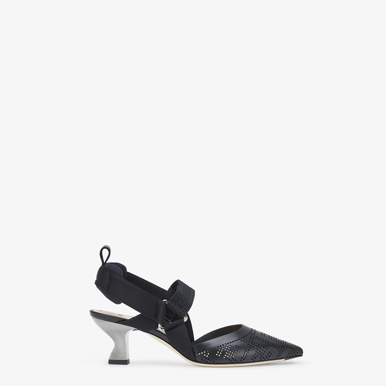 FENDI SLINGBACKS - Black leather, medium heel slingbacks - view 1 detail