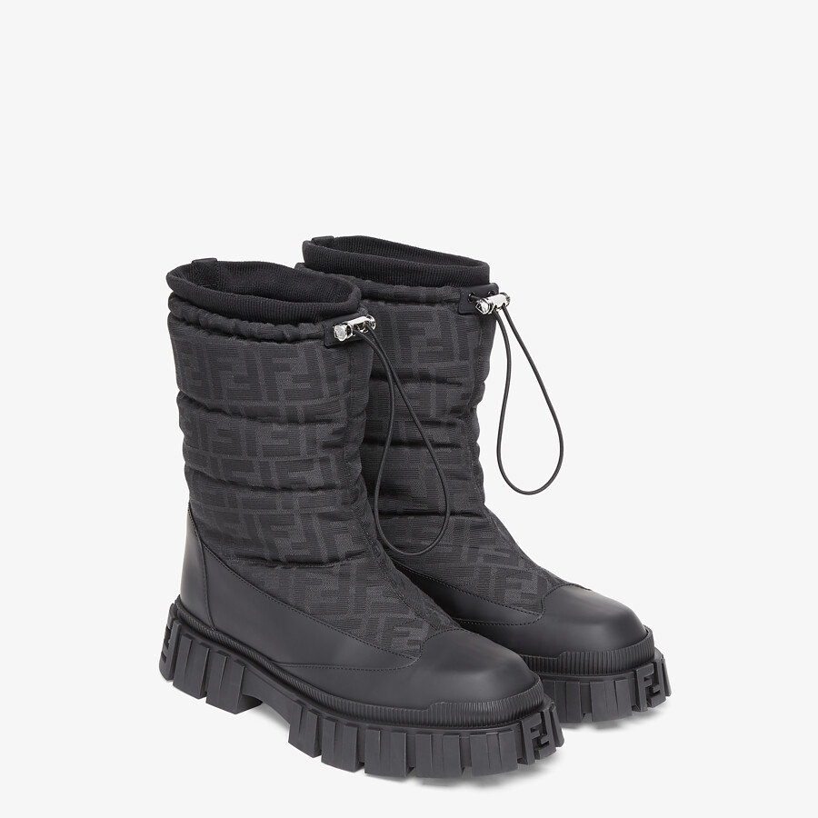 FENDI ANKLE BOOTS - Black leather boots - view 4 detail