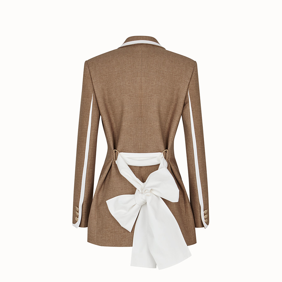 FENDI JACKET - Beige silk and wool jacket - view 2 detail