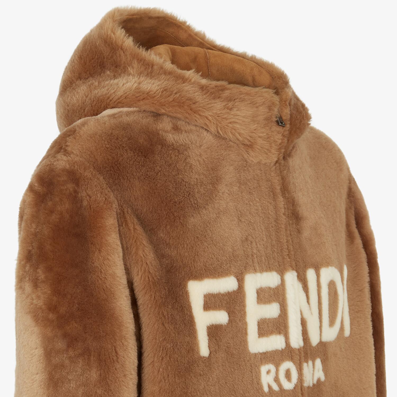 FENDI BLOUSON JACKET - Brown shearling jacket - view 3 detail