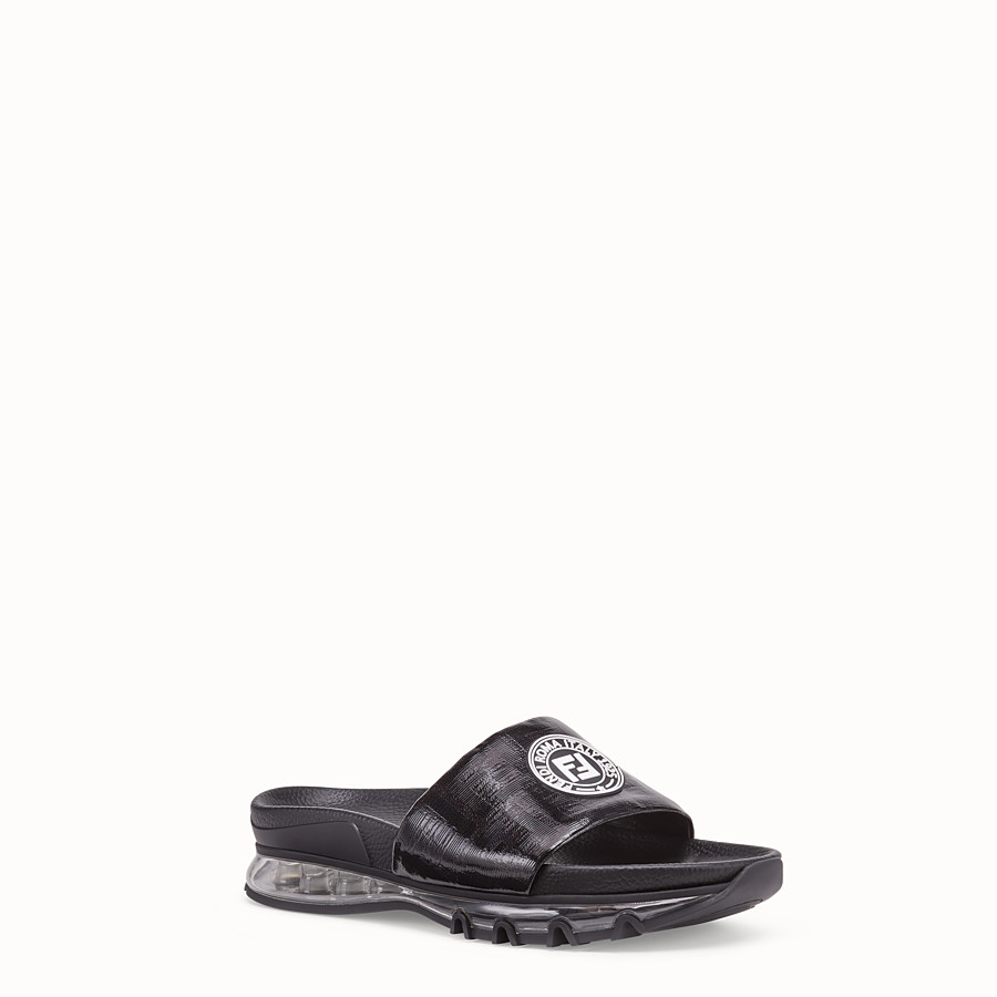FENDI SANDALS - Black leather and PU slides - view 2 detail