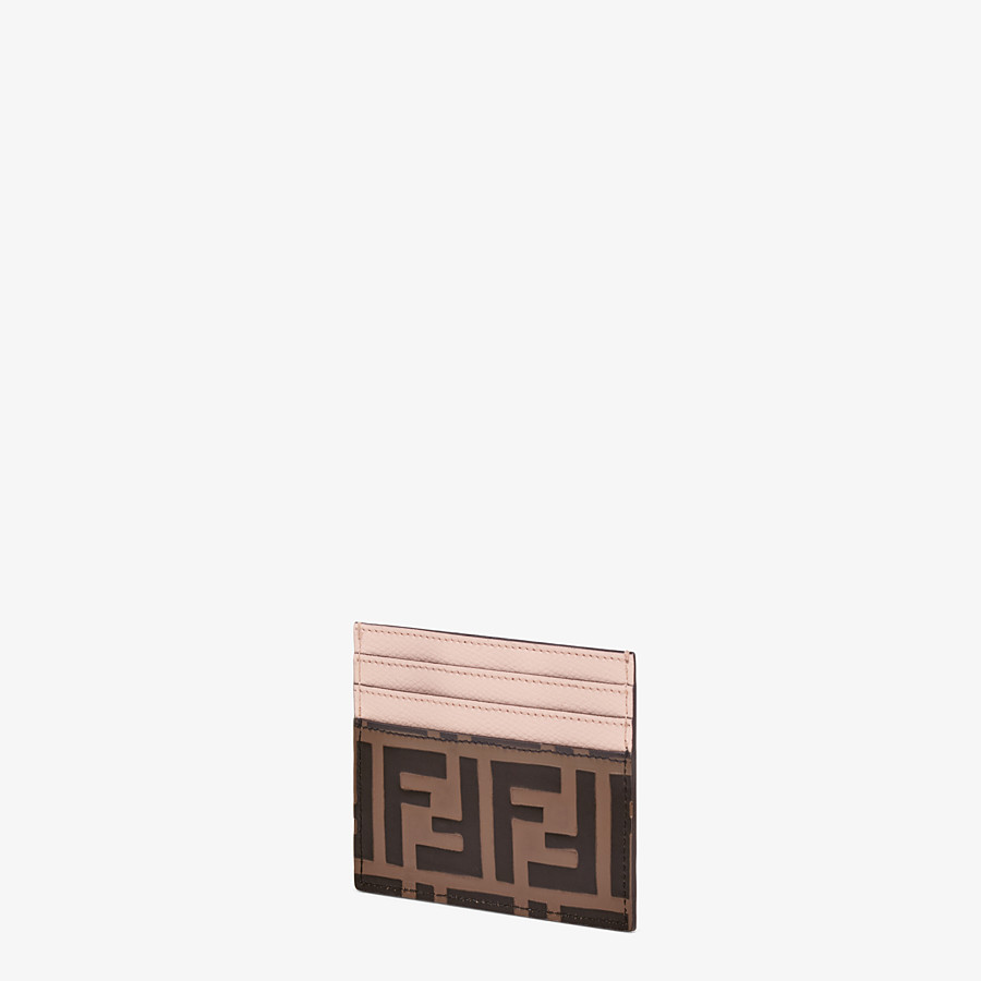 FENDI CARD HOLDER - Brown leather flat card holder - view 2 detail