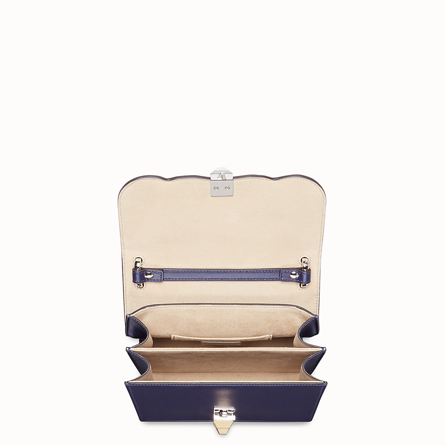 FENDI KAN I SMALL - Blue leather mini-bag with exotic details - view 4 detail