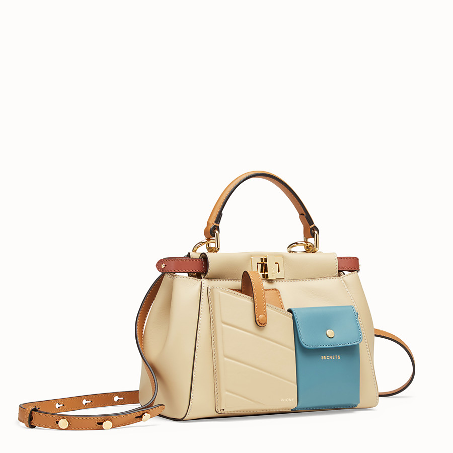 FENDI PEEKABOO MINI POCKET - Beige leather bag - view 2 detail