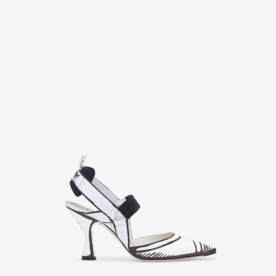 FENDI SLINGBACKS - White leather Colibrì slingbacks - view 1 detail
