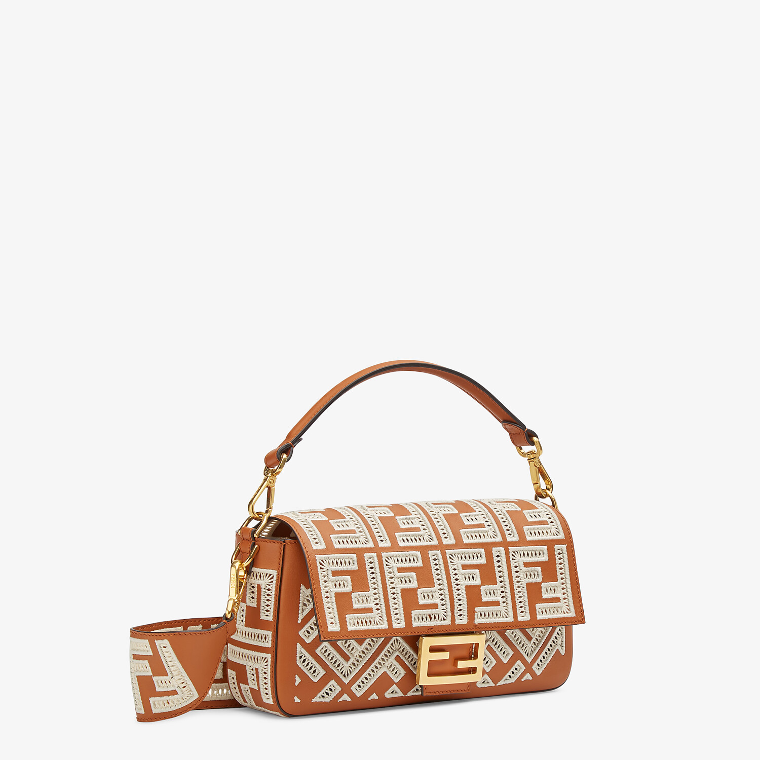 FENDI BAGUETTE - Brown leather bag with FF embroidery - view 3 detail