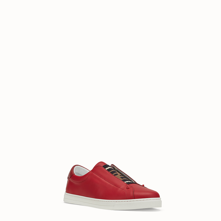 FENDI SNEAKERS - Red leather slip-ons - view 2 detail